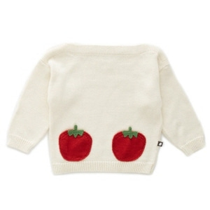 OEUF 우프 SS20 /  Oeuf Tomato Pocket Sweater_White /Tomato_우프 스웨터 / 우프 의류