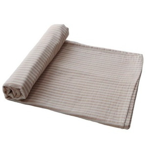 mushie 스와들 / Muslin Swaddle Blanket Organic Cotton (Natural Stripe)